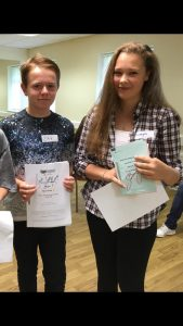 Zak and Georgia show off their signed scripts from Suranne Jones (Dr. Foster, Scott & Bailey) and Sally Lindsay (Mount Pleasant, Coronation St)
